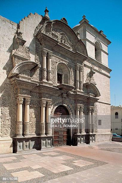 Facade of a church La Compania Arequipa Peru
