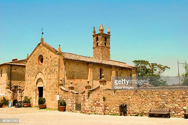 Facade of a church, Romanesque church, Piazza Roma, Monteriggioni, Siena Province, Tuscany, Italy