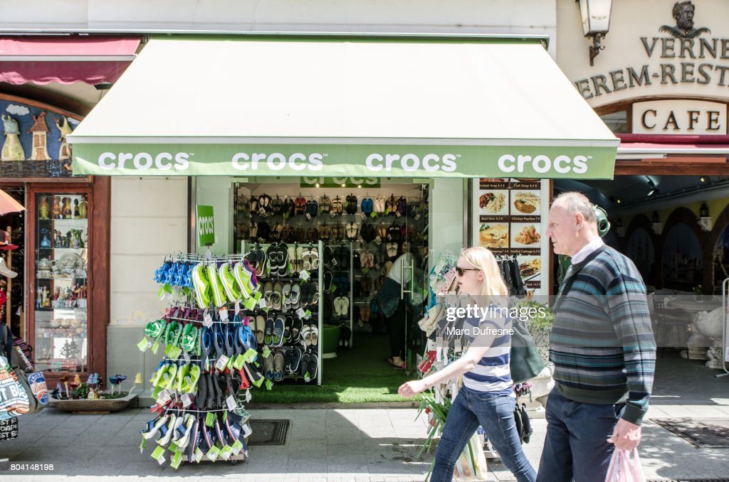 2662a164b Facade of a Crocs shoe store in Budapest during summer day   Stock Photo