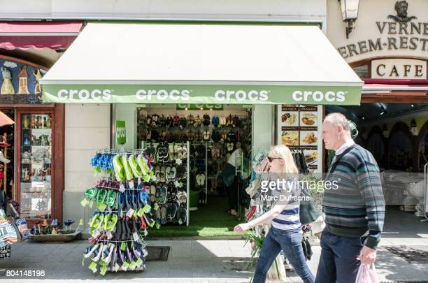 efdcfe6daf6086 Facade of a Crocs shoe store in Budapest during summer day