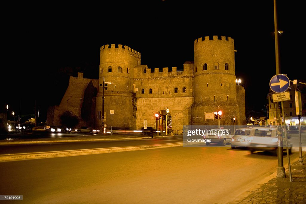 Facade of a fort, Rome, Italy : Foto de stock