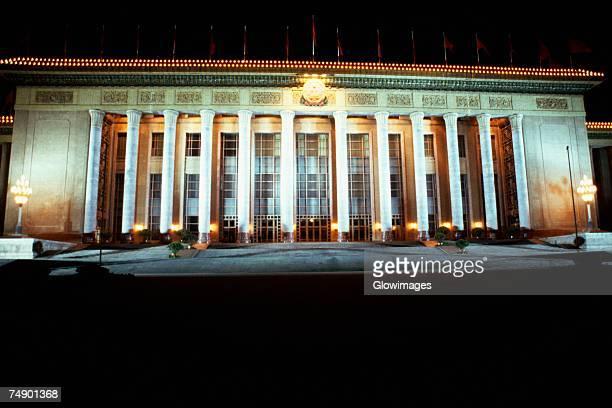 facade of a government building, beijing, china - gran salón del pueblo fotografías e imágenes de stock