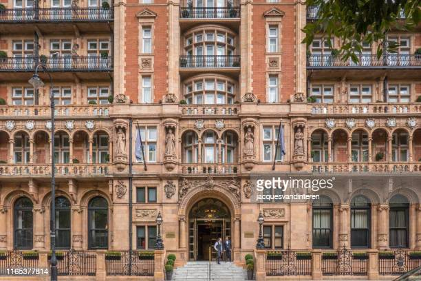facade (detail) of a hotel, situated at russell square, london, united kingdom - bloomsbury london stock photos and pictures
