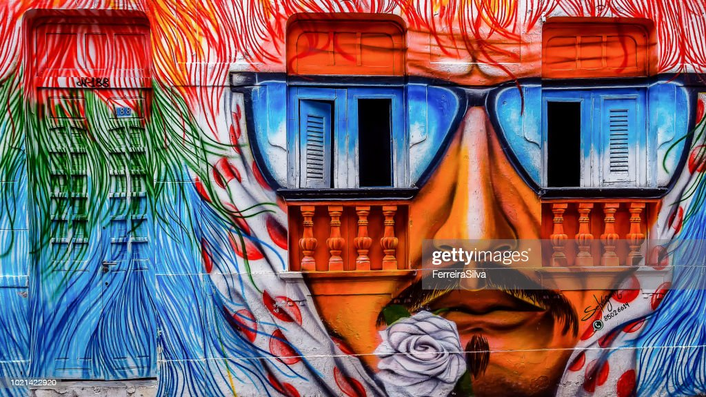 Facade of a house in the city of Olinda painted with the theme of the Rural Maracatu : Stock Photo