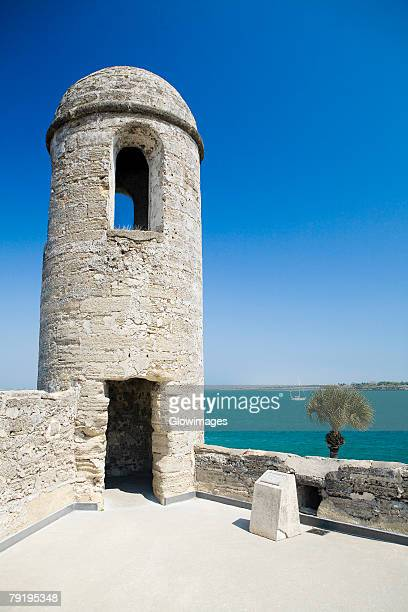 facade of a lookout tower, castillo de san marcos national monument, st.augustine, florida, usa - castillo de san marcos stock photos and pictures