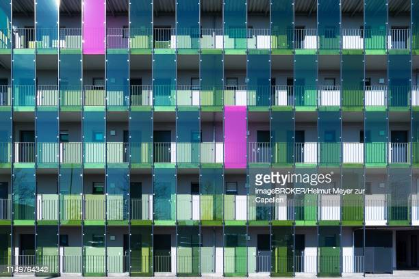 facade of a modern apartment building, erlangen, middle franconia, bavaria, germany - erlangen stock photos and pictures