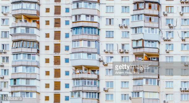 facade of a multi-storey residential building, front view - ukraine stock pictures, royalty-free photos & images