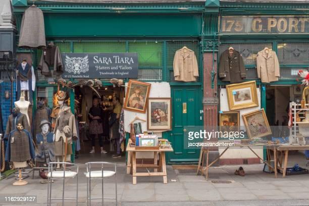 ノッティングヒルのポルトベッロロードのショップのファサード, ロンドン, イギリス - ノッティングヒル ストックフォトと画像