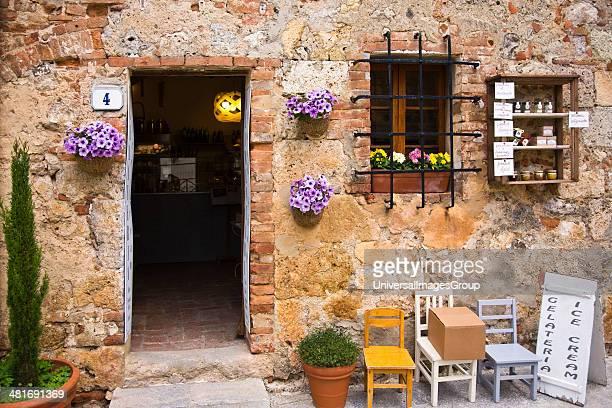 Facade of a wine shop Monteriggioni Siena Province Tuscany Italy