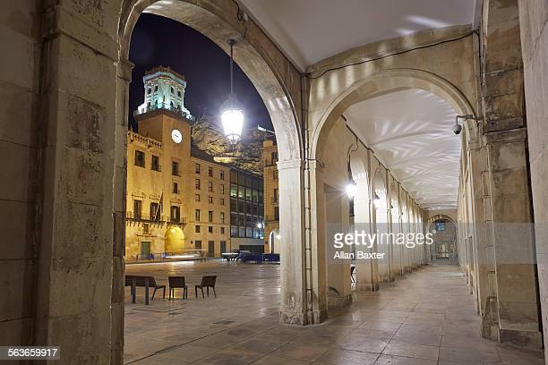 facade of alicante city hall at night - alicante stock pictures, royalty-free photos & images