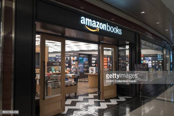 Facade of Amazon Books store a physical retail store operated by Internet company Amazon at Time Warner Center in Manhattan New York City New York...