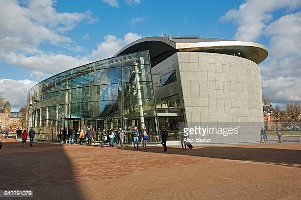 facade of amsterdam's van gogh museum - museumplein stock pictures, royalty-free photos & images