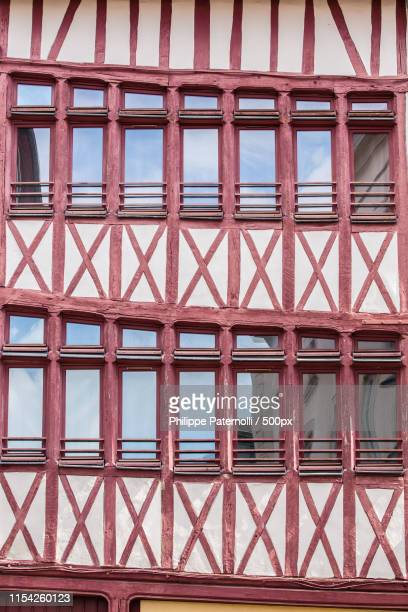 facade of an old house in rouen, normandy - rouen stock pictures, royalty-free photos & images