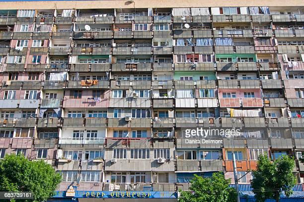 Facade of apartment block with balconies, Yerevan, Armenia