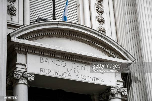 Facade of Argentina's Central Bank in Buenos Aires, on August 30, 2019. - Recession-hit Argentina has been whipped by market volatility since...