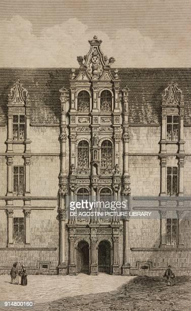 Facade of AzayleRideau Castle France engraving by Lemaitre from France troiseme partie L'Univers pittoresque published by Firmin Didot Freres Paris...