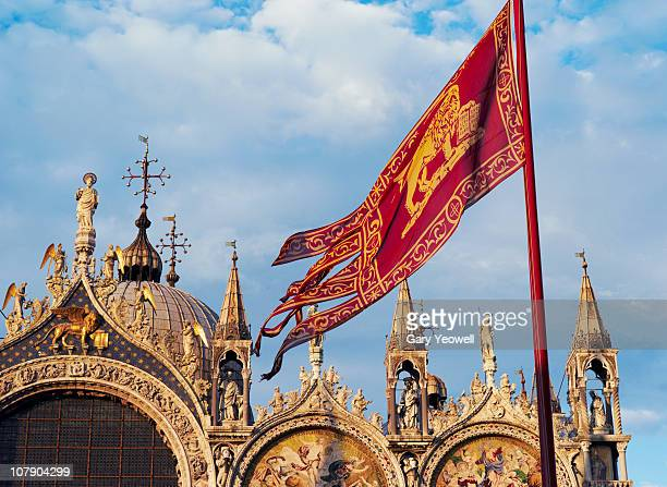 facade of basilica san marco - yeowell stock photos and pictures