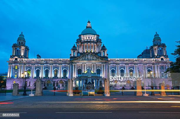 Facade of Belfast City Hall at dusk