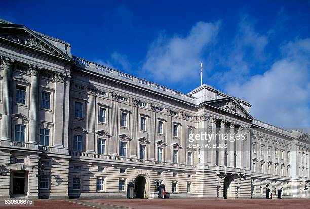Facade of Buckingham Palace London residence of the reigning monarch of the United Kingdom London England United Kingdom