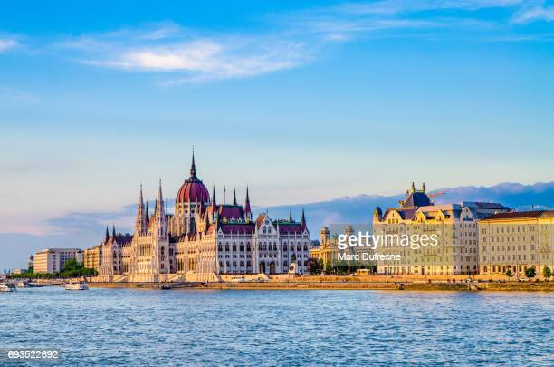 Facade of Budapest Parliament seen from other side of Danube river