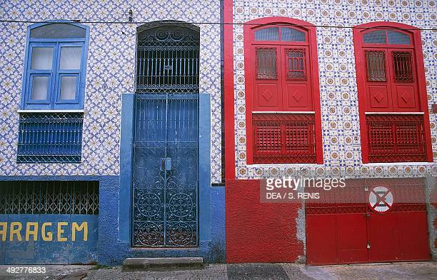 Facade of building decorated with azulejos in the historic centre of Sao Luis , State of Maranhao, Brazil.