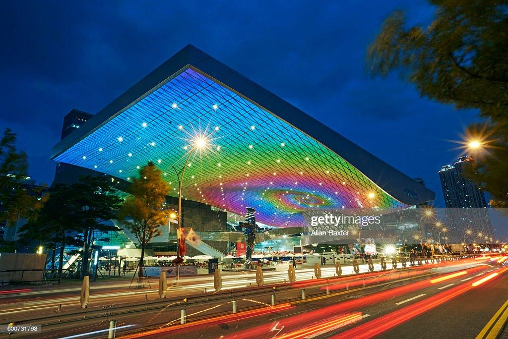 Cinema Center facade of busan cinema center lit at stock photo getty images