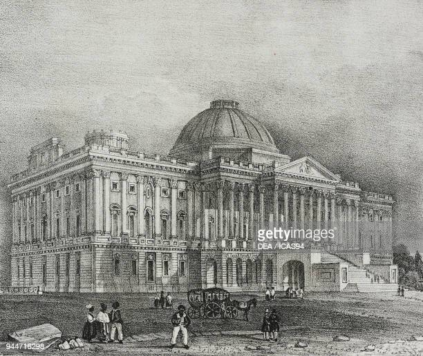 Facade of Capitol building in Washington, United States of America, lithograph by Salvatore Puglia from Poliorama Pittoresco, n 42, May 28, 1842.
