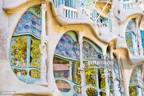 facade of casa batllo by antoni gaudi - casa stock pictures, royalty-free photos & images