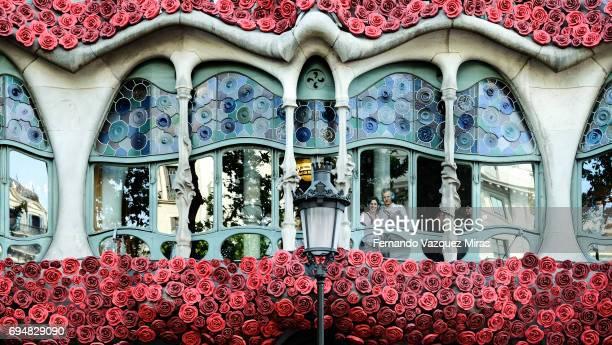 Facade of Casa Batllo with roses, Spain, Catalonia, Barcelona.