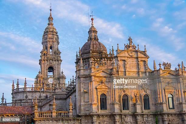 Facade of Cathedral of Santiago de Compostela at sunset, Santiago de Compostela, Santiago, A Coruna Province, Spain