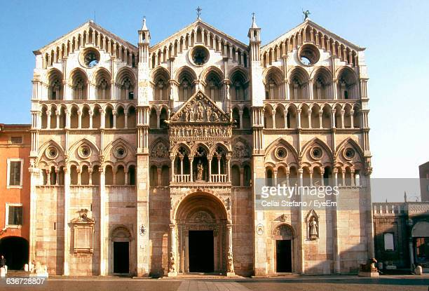 facade of cathedral - modena stock pictures, royalty-free photos & images
