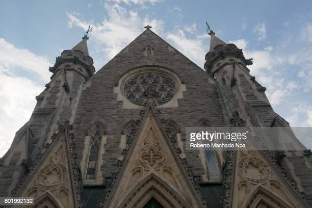 Facade of Christ Church Cathedral which is an Anglican Gothic Revival building It is the seat of the Anglican Diocese of Montreal