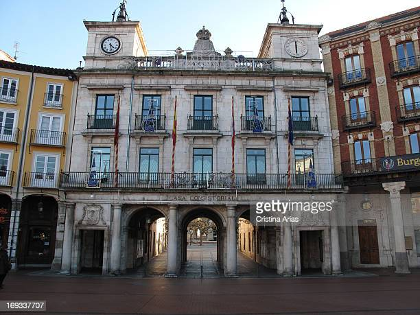 Facade of City Hall was built in 1787 in neoclassical style following the design of architect Ventura Rodriguez Burgos Castile and León Spain