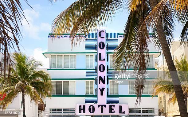 facade of Colony Hotel on Ocean Drive in Miami Florida