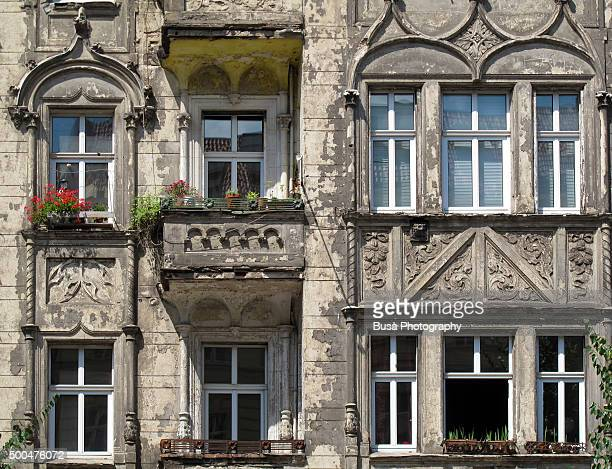 Facade of derelict building in Berlin, Germany
