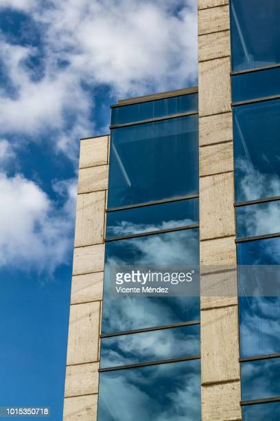 Facade of glass and clouds
