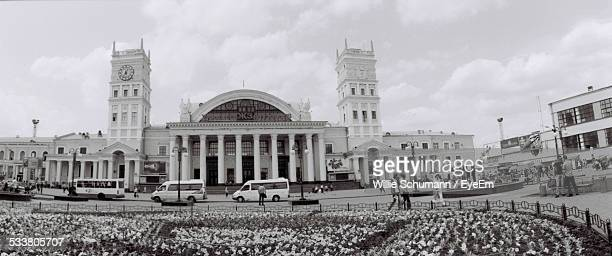 Facade Of Government Building With Colonnade And Towers