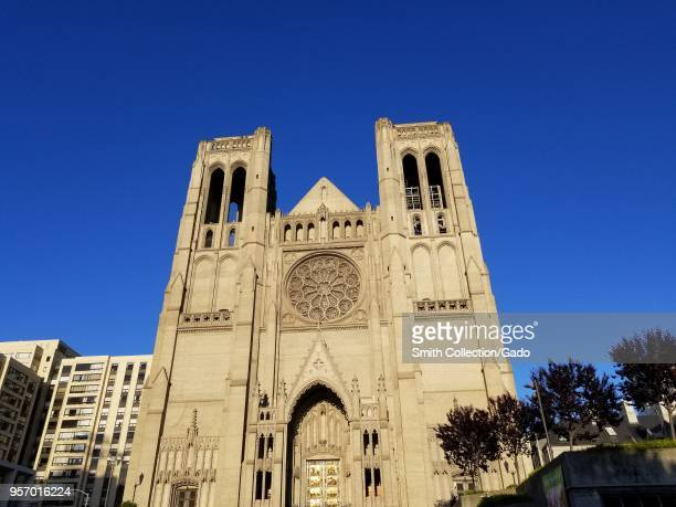 Facade of Grace Cathedral on Nob Hill in San Francisco California at dawn April 21 2018