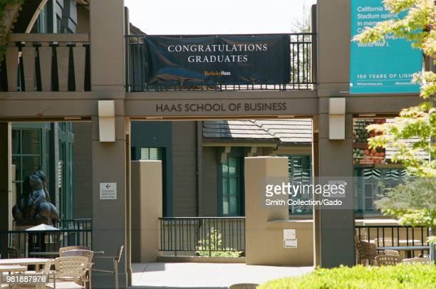 Facade of Haas School of Business on the campus of UC Berkeley in downtown Berkeley California May 21 2018