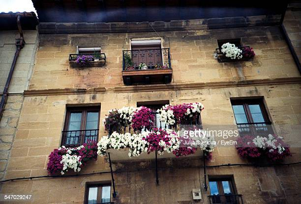 Facade Of Historic Building With Balconies Decorated With Flowers
