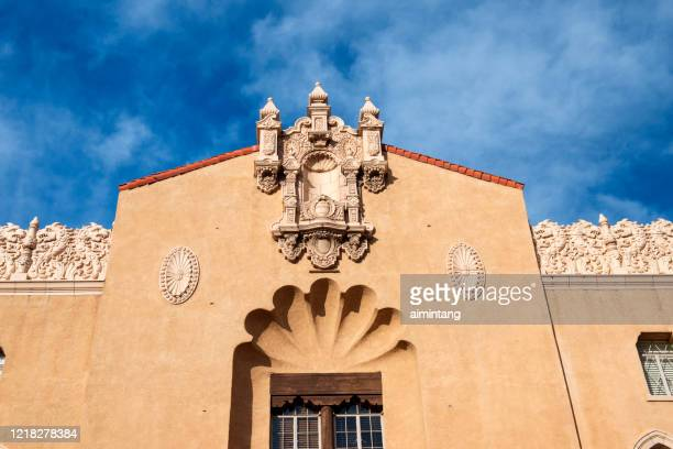 facade of historic lensic performing arts center on west san francisco street in downtown santa fe - performing arts center stock pictures, royalty-free photos & images