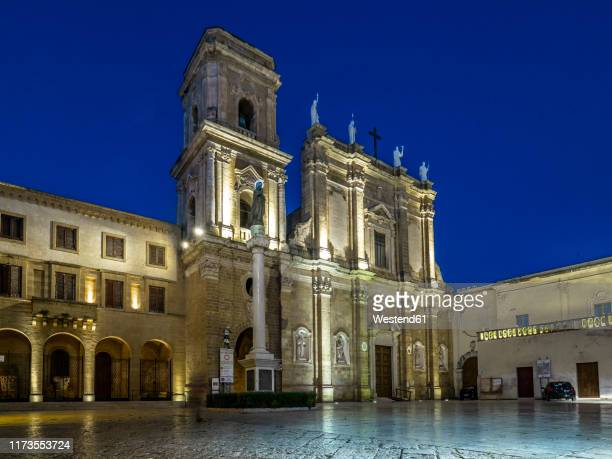 facade of illuminated cathedral in brindisi against clear blue sky at night - ブリンディシ ストックフォトと画像