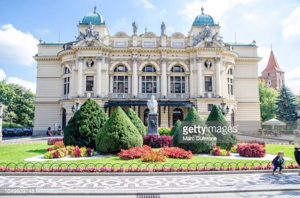 facade of juliusz-słowacki theater in krakow, poland, during summer day - local landmark stock pictures, royalty-free photos & images