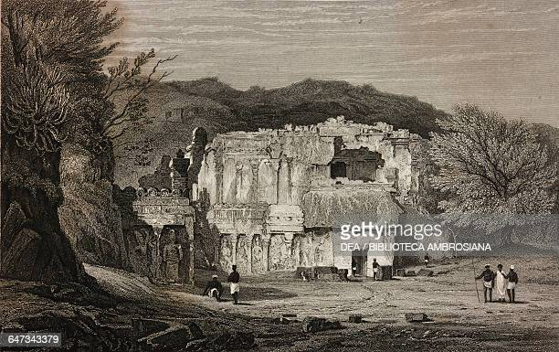 Facade of Kailasa cave temple Ellora India drawn by Prout from original sketches by Commander Robert Elliott from Views in India China and on the...