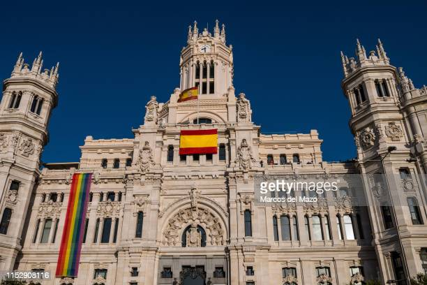 Facade of Madrid City Council where this year the LGTBI flag has been moved to the left side of the building and its place has been occupied by a...