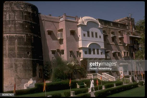 Facade of Mandawa castle, 1 of Rajput palaces converted to luxury hotel, built in 1755 in Rajasthani desert.