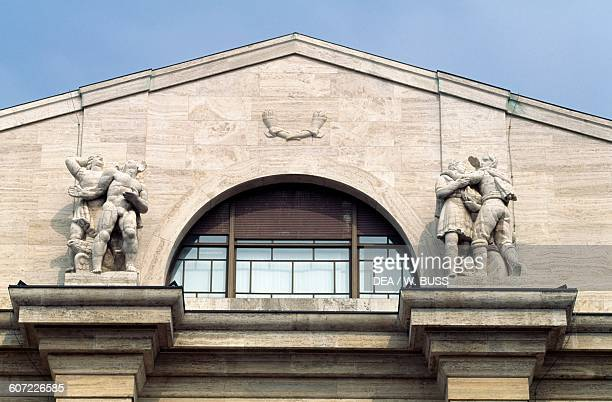 Facade of Mezzanotte Palace also known as Palazzo delle Borse Milan Lombardy Italy 20th century