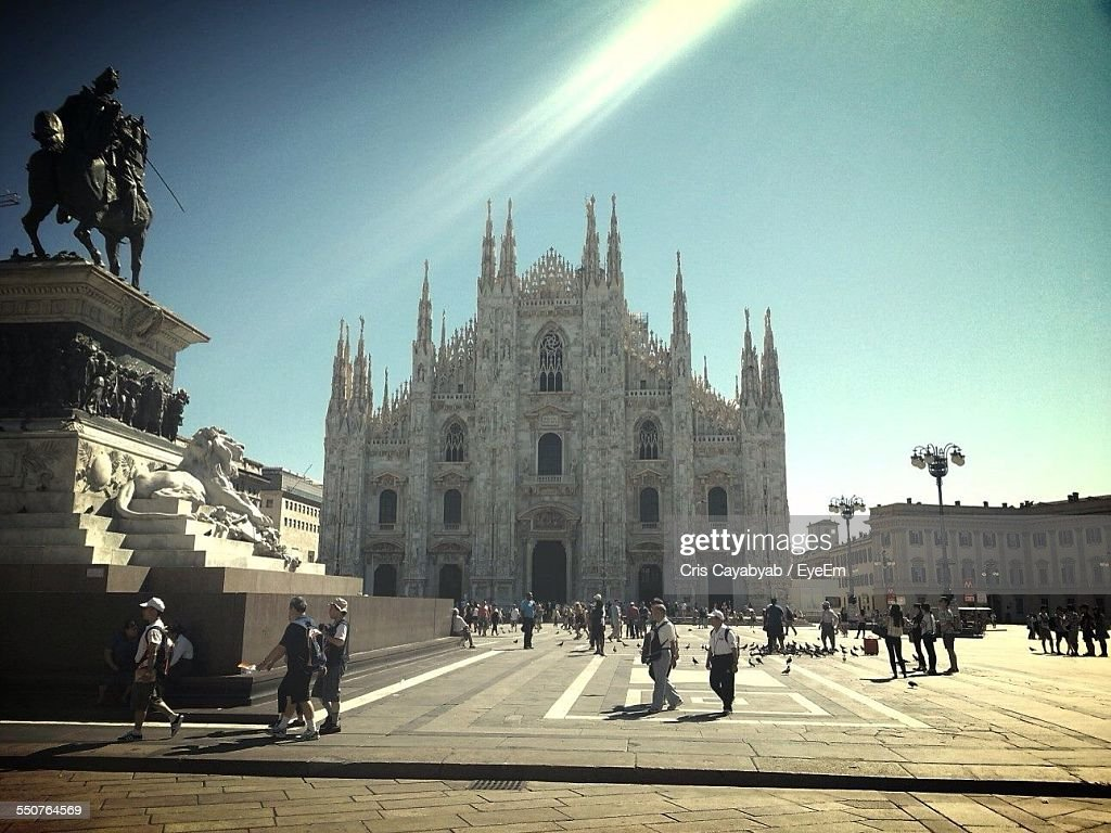 Facade Of Milan Cathedral Against Clear Sky : Stock-Foto