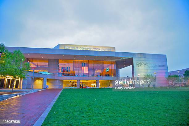 facade of new national constitution center, on the independence mall in philadelphia, pennsylvania - national constitution center stock pictures, royalty-free photos & images