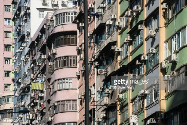 Facade of old apartment tower in the very crowded district of Mongkok in Hong Kong.